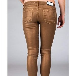 Flying Monkey Metallic Gold Skinny Jeans